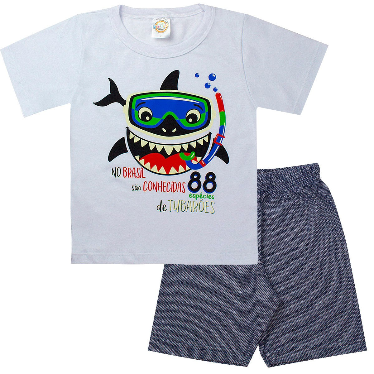 Conjunto Infantil Masculino Tubarão Branco - Kontrato