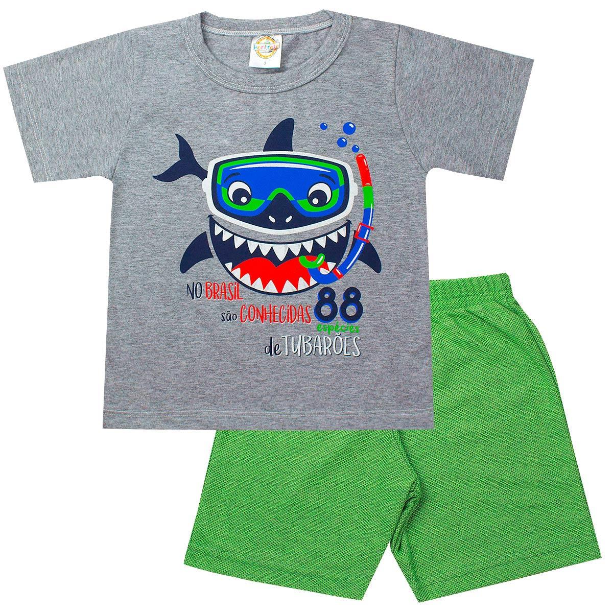 Conjunto Infantil Masculino Tubarão Mescla - Kontrato