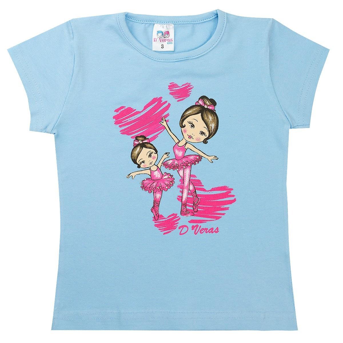 Conjunto Infantil Menina Bailarinas Azul D'Veras