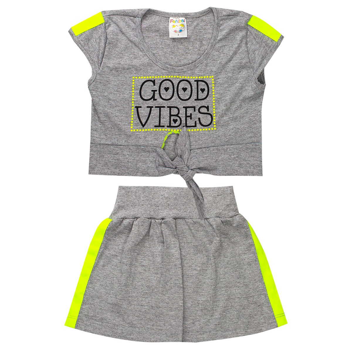 Conjunto Infantil Menina Blusa Amarradinha Saia Neon Verde