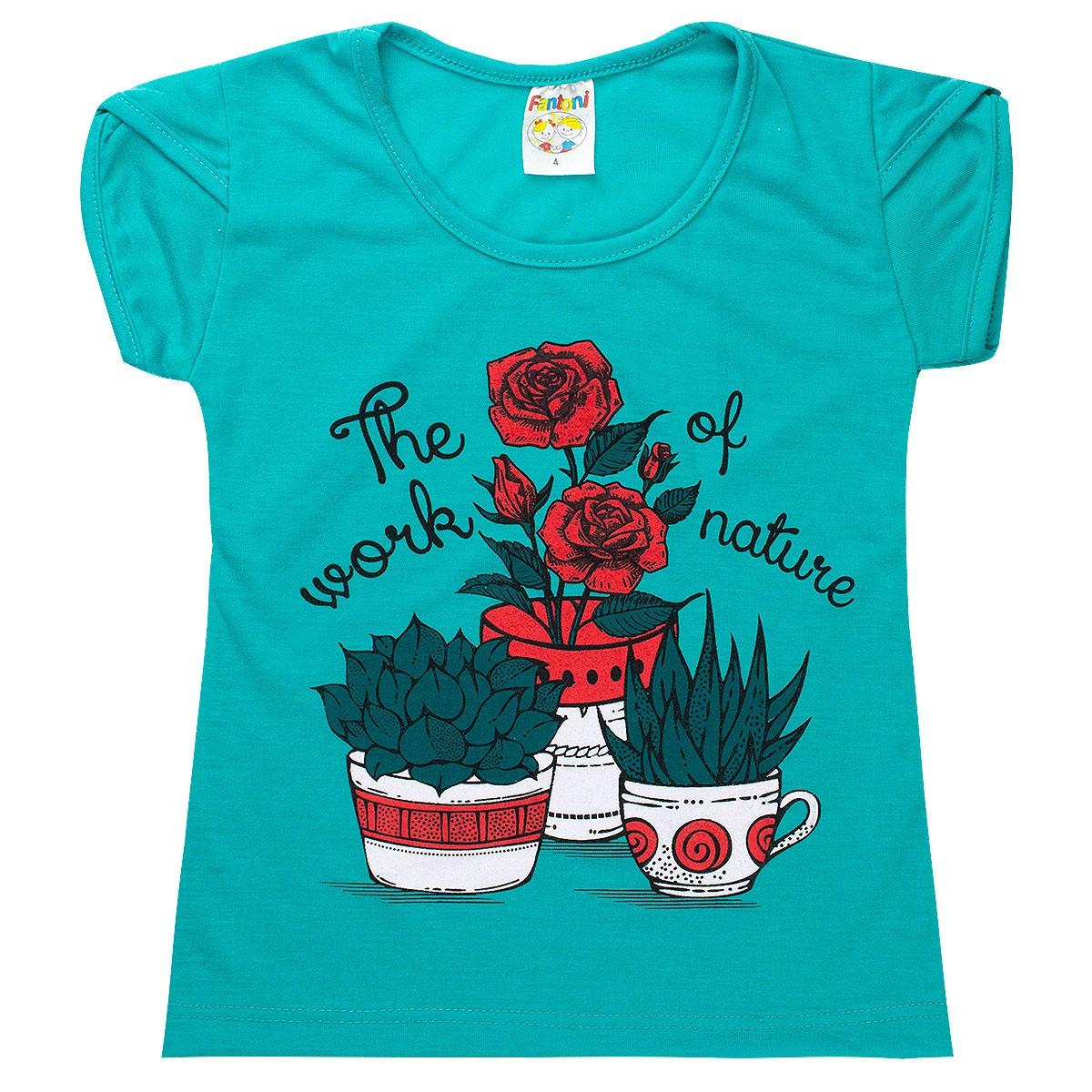 Conjunto Infantil Menina Estampa Flores Nature Verde Fantoni