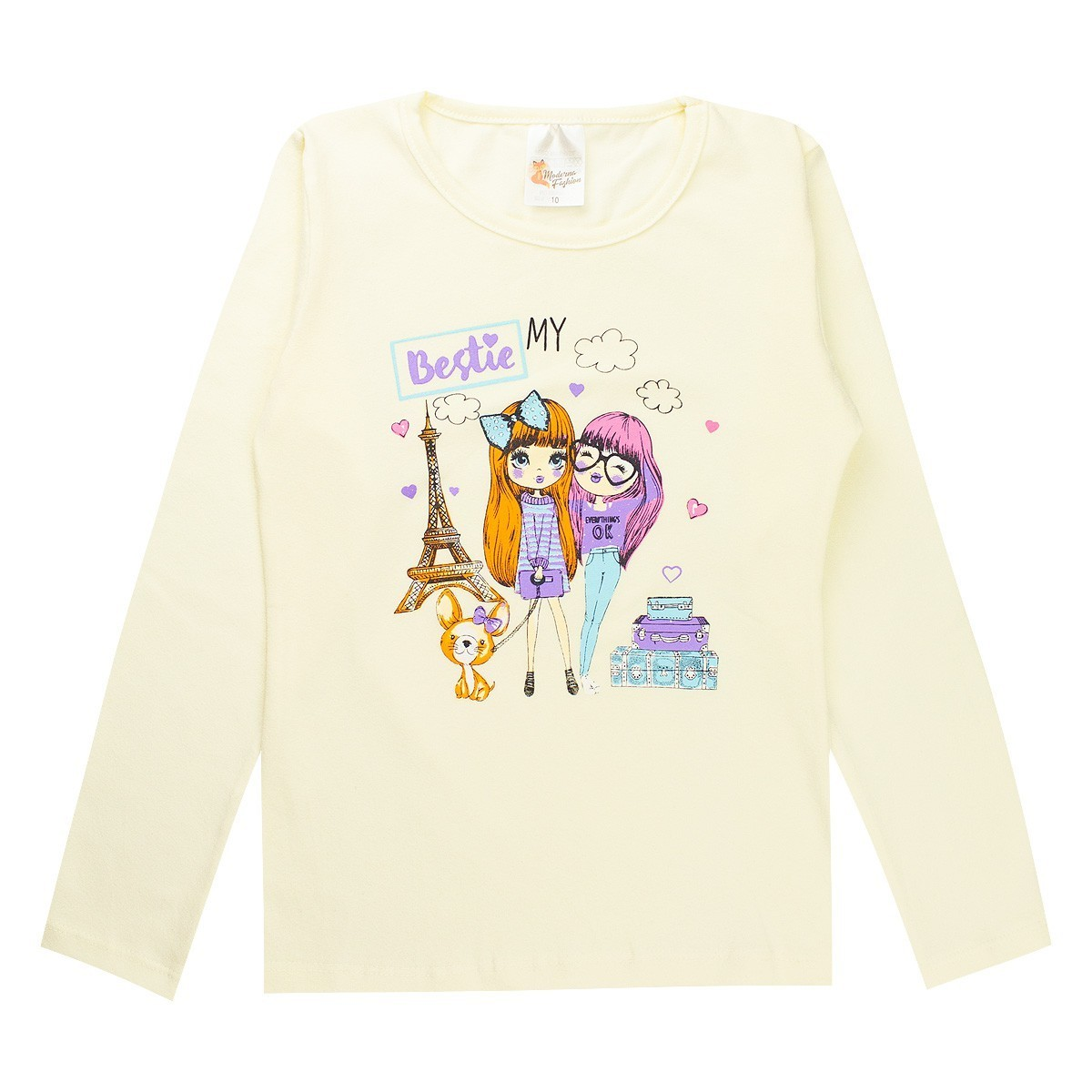 Conjunto Infantil Menina Estampado Cotton My bestie - Bege