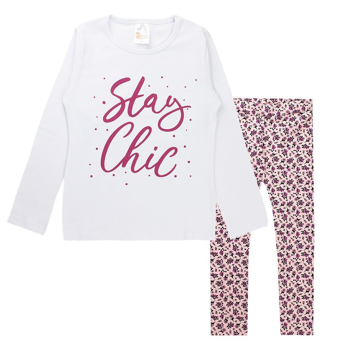 Conjunto Infantil Menina Estampado Cotton Stay Chic - Branco