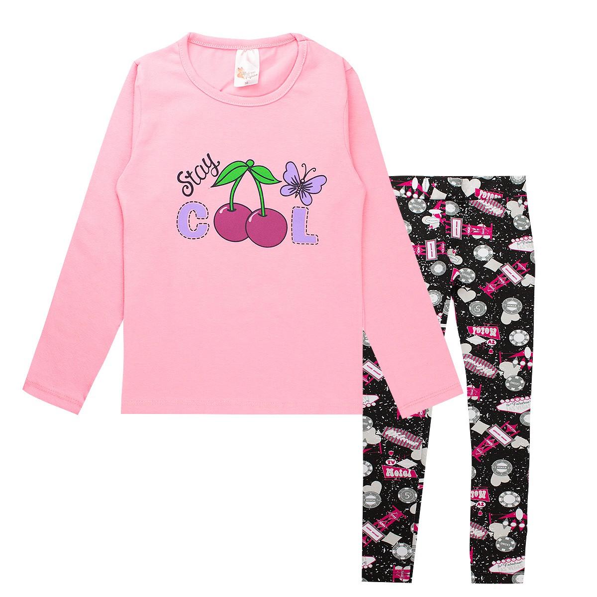 Conjunto Infantil Menina Estampado Cotton Stay Coll - Rosa