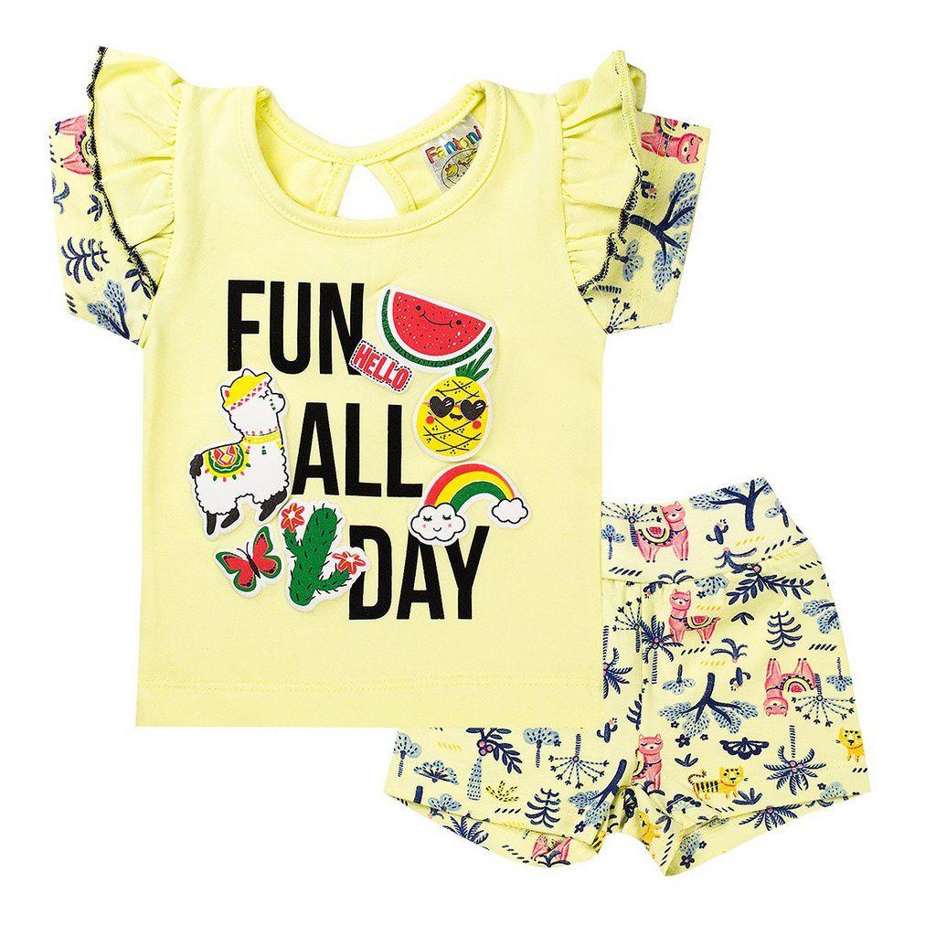 Conjunto Infantil Menina Fun All Day Amarelo - Fantoni