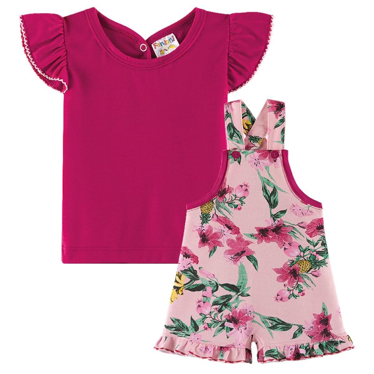 Conjunto Infantil Menina Jardineira Estampada Rosa Pink