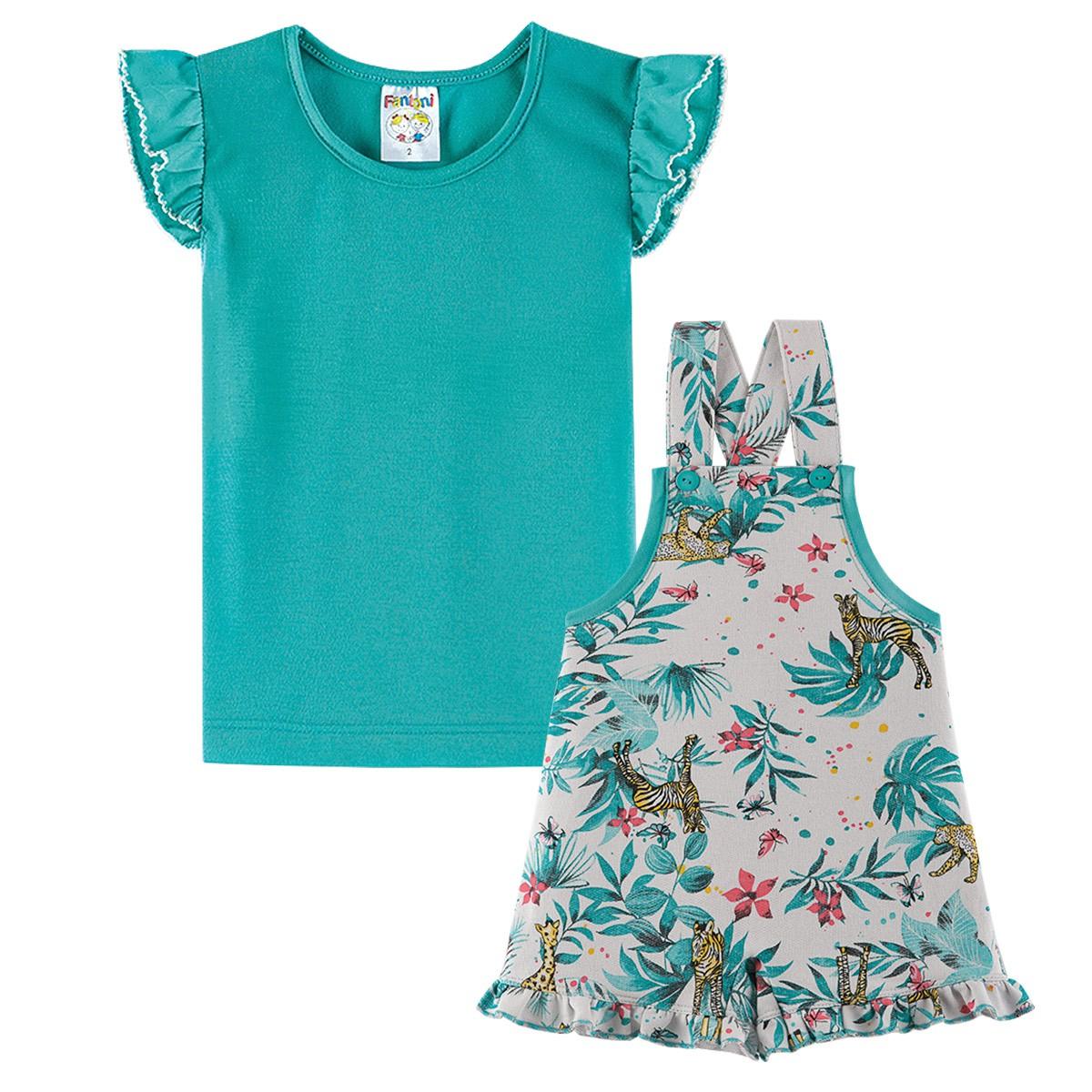 Conjunto Infantil Menina Jardineira Estampada Verde