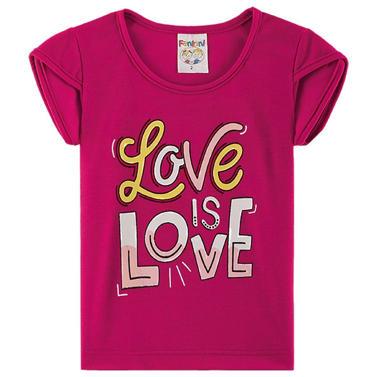 Conjunto Infantil Menina Love Estampado - Pink