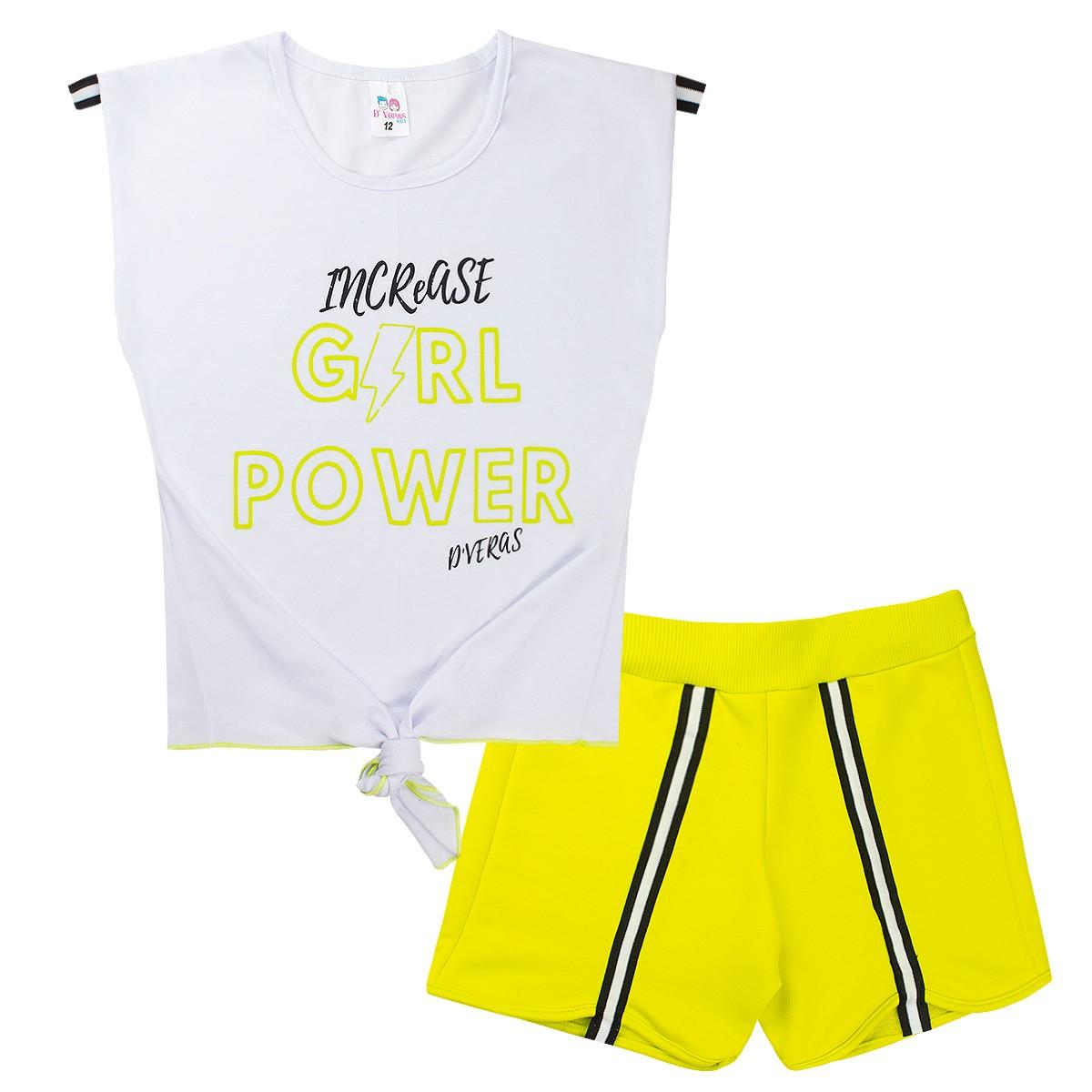 Conjunto Infantil Menina Neon Girl Power Branco D'Veras