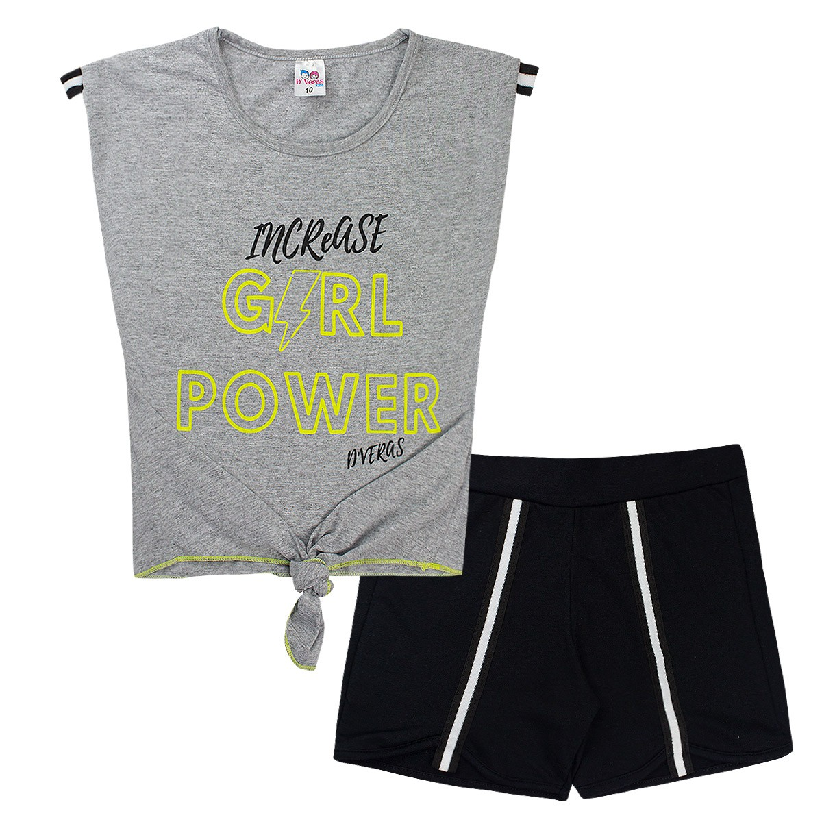 Conjunto Infantil Menina Neon Girl Power Mescla D'Veras