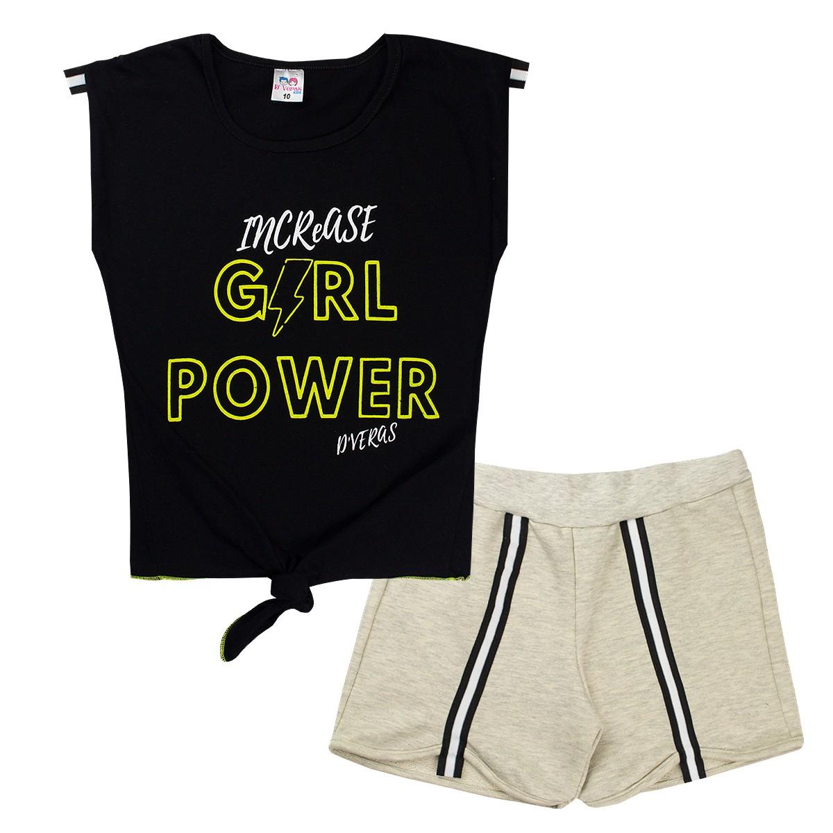 Conjunto Infantil Menina Neon Girl Power Preto D'Veras