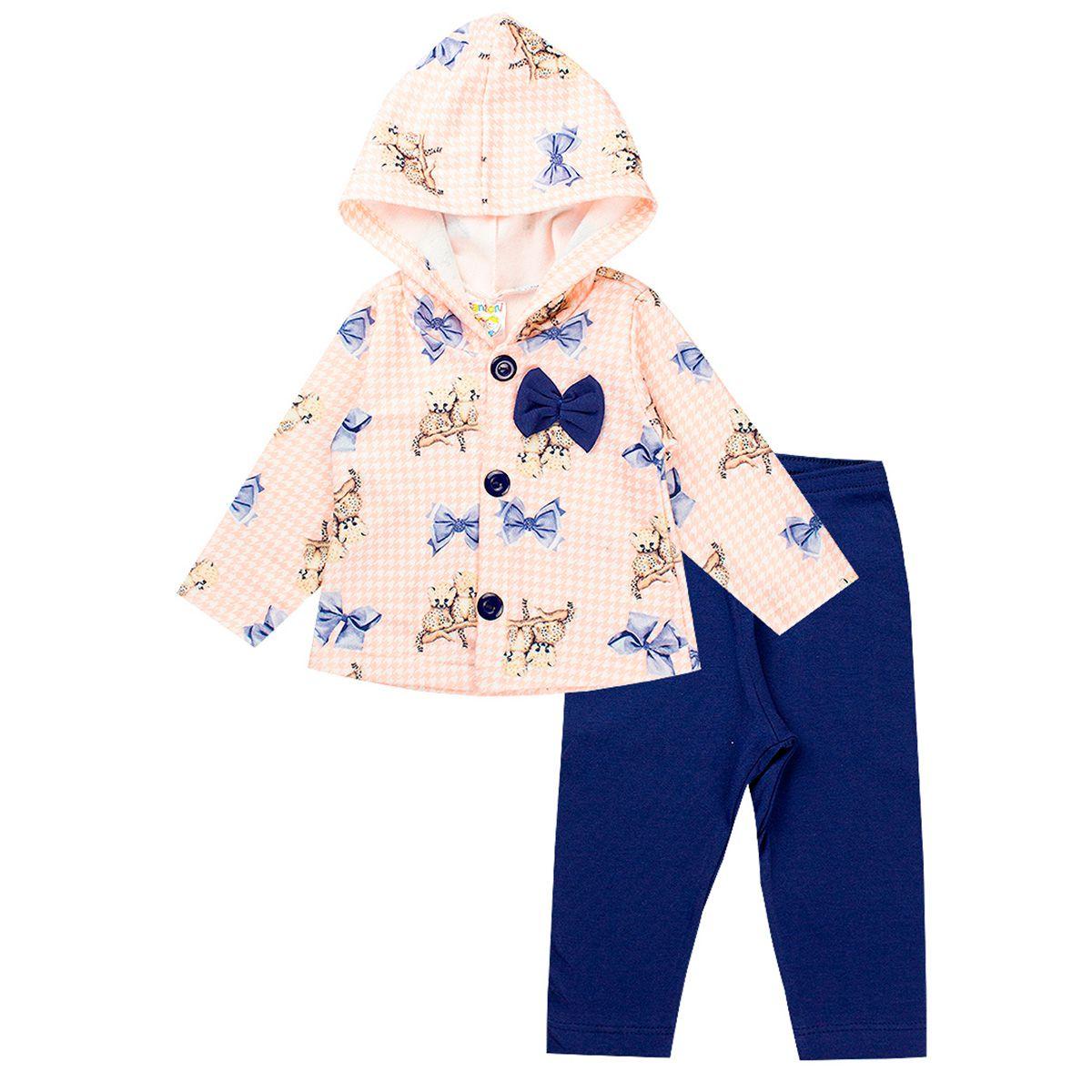 Conjunto Infantil Menina Soft Com Capuz Estampado - Fantoni