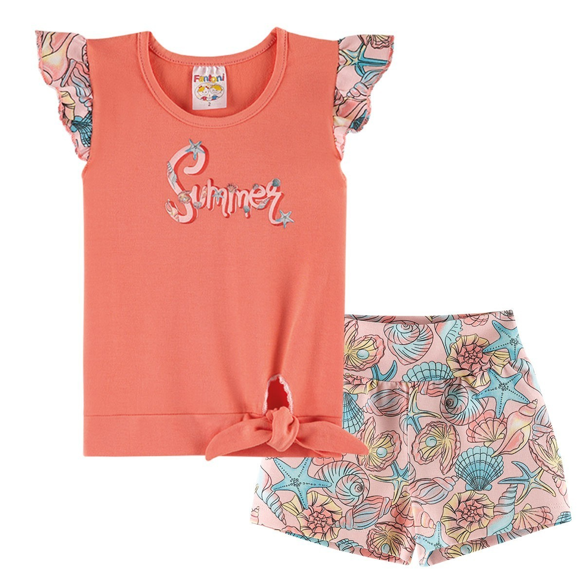 Conjunto Infantil Menina Summer Amarradinha - Salmão