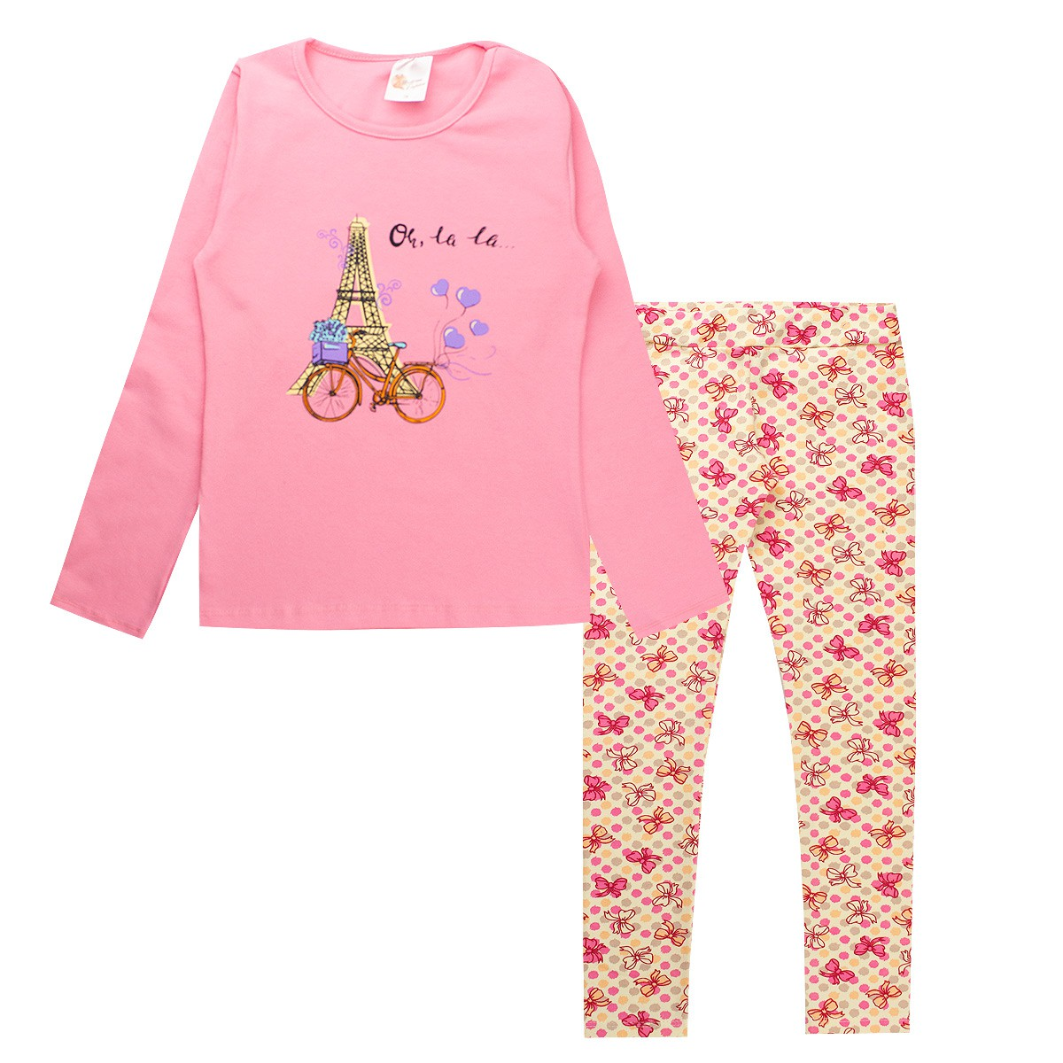 Conjunto Infantil Menina Torre Eiffel Cotton Rosa Promoção