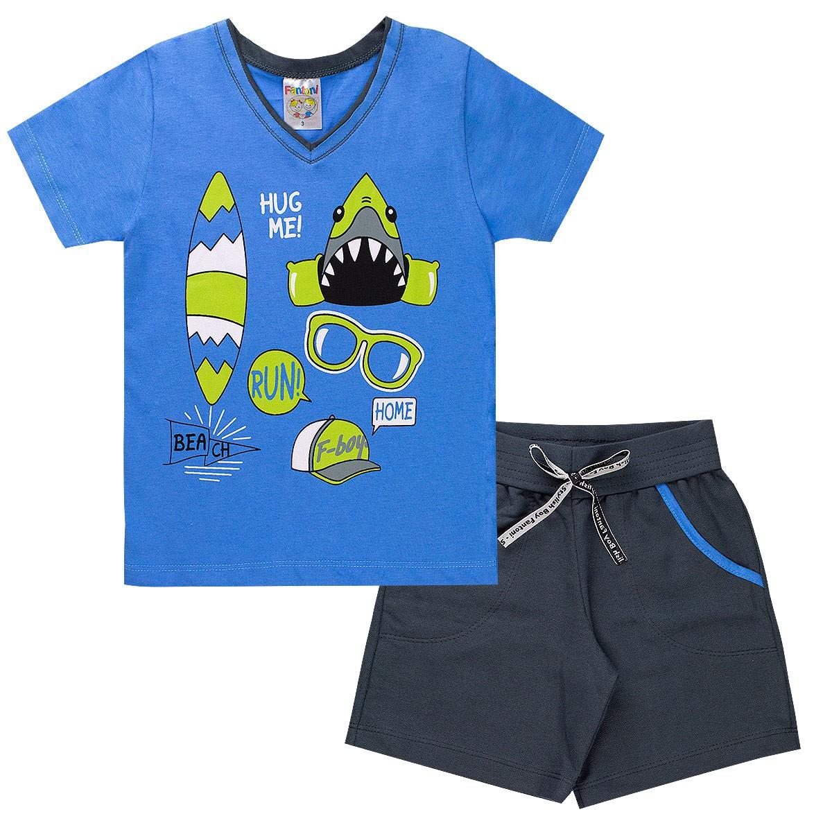 Conjunto Infantil Menino Beach Tubarão Surf Azul