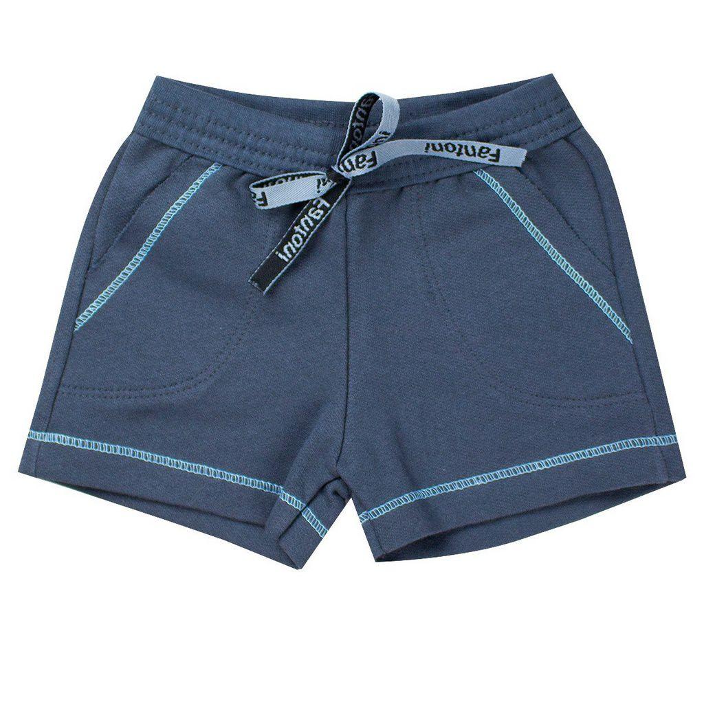 Conjunto Infantil Menino Camisa Bom Pirata Azul - Fantoni
