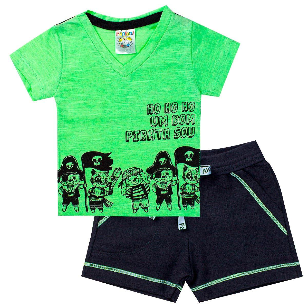 Conjunto Infantil Menino Camisa Bom Pirata Verde - Fantoni