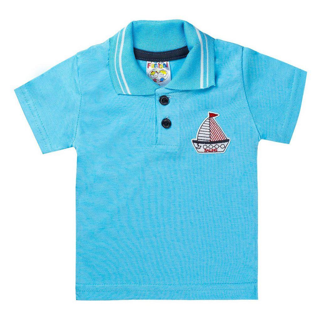 Conjunto Infantil Menino Camisa Pólo Azul - Fantoni