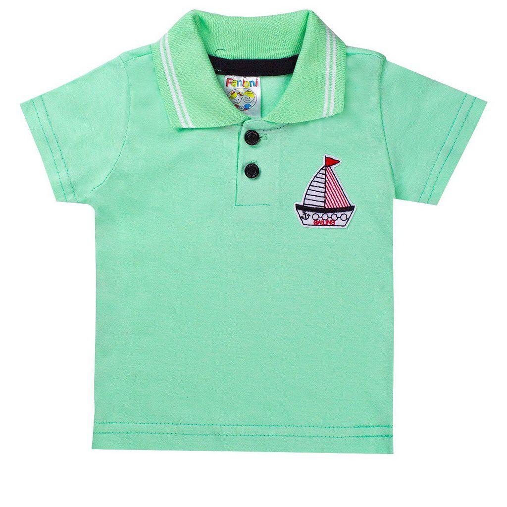 Conjunto Infantil Menino Camisa Pólo Verde - Fantoni