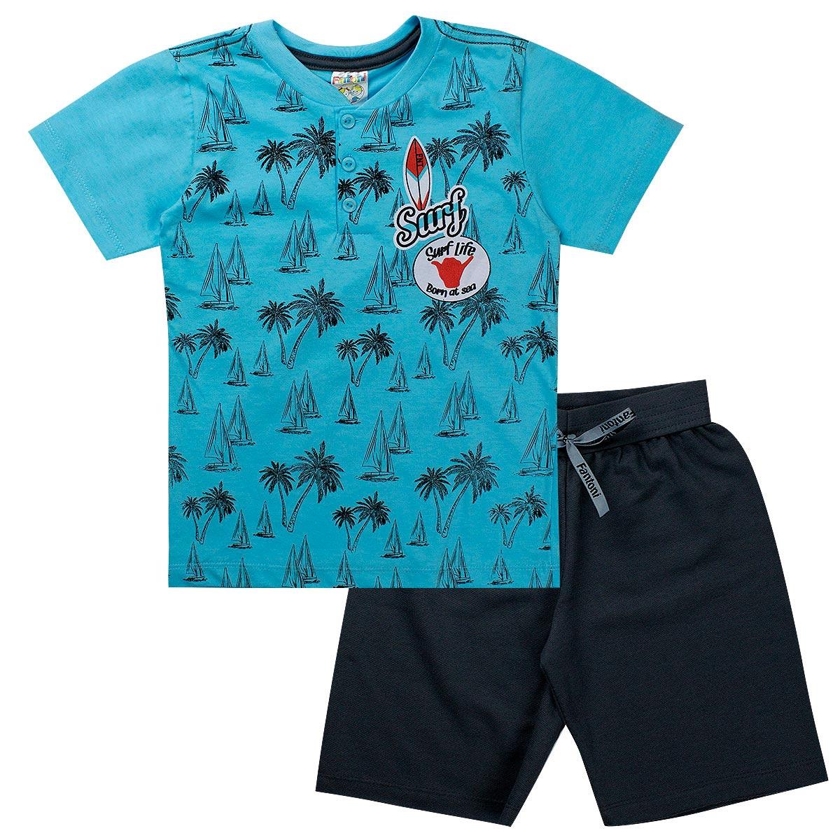Conjunto Infantil Menino Camiseta Surf Azul - Fantoni