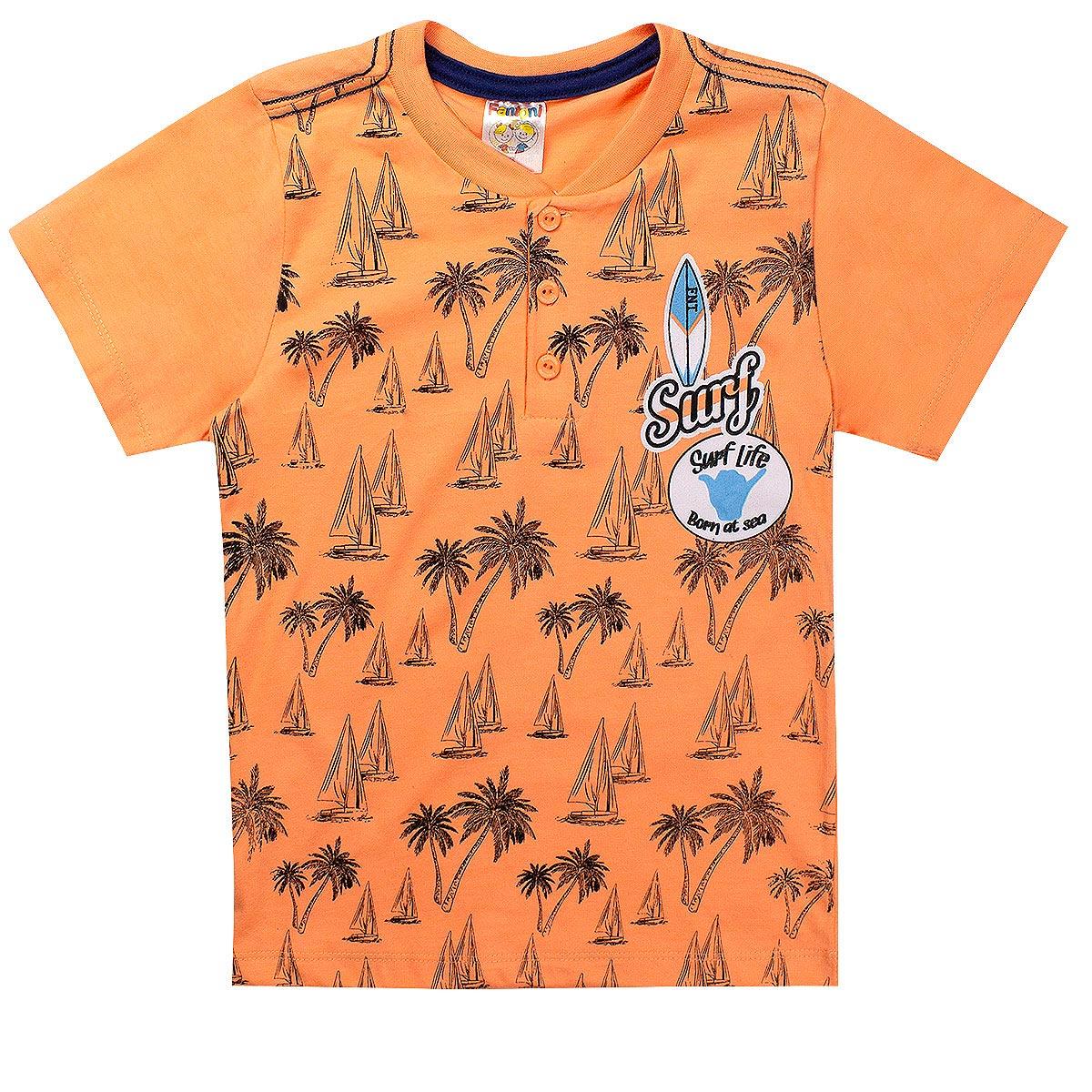 Conjunto Infantil Menino Camiseta Surf Laranja - Fantoni