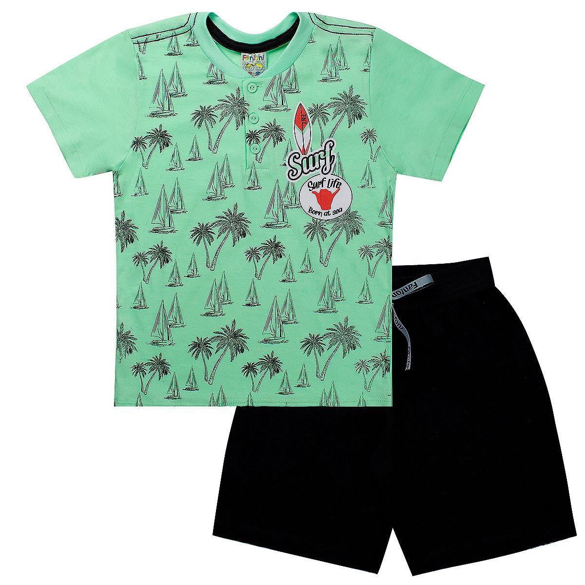 Conjunto Infantil Menino Camiseta Surf Verde - Fantoni