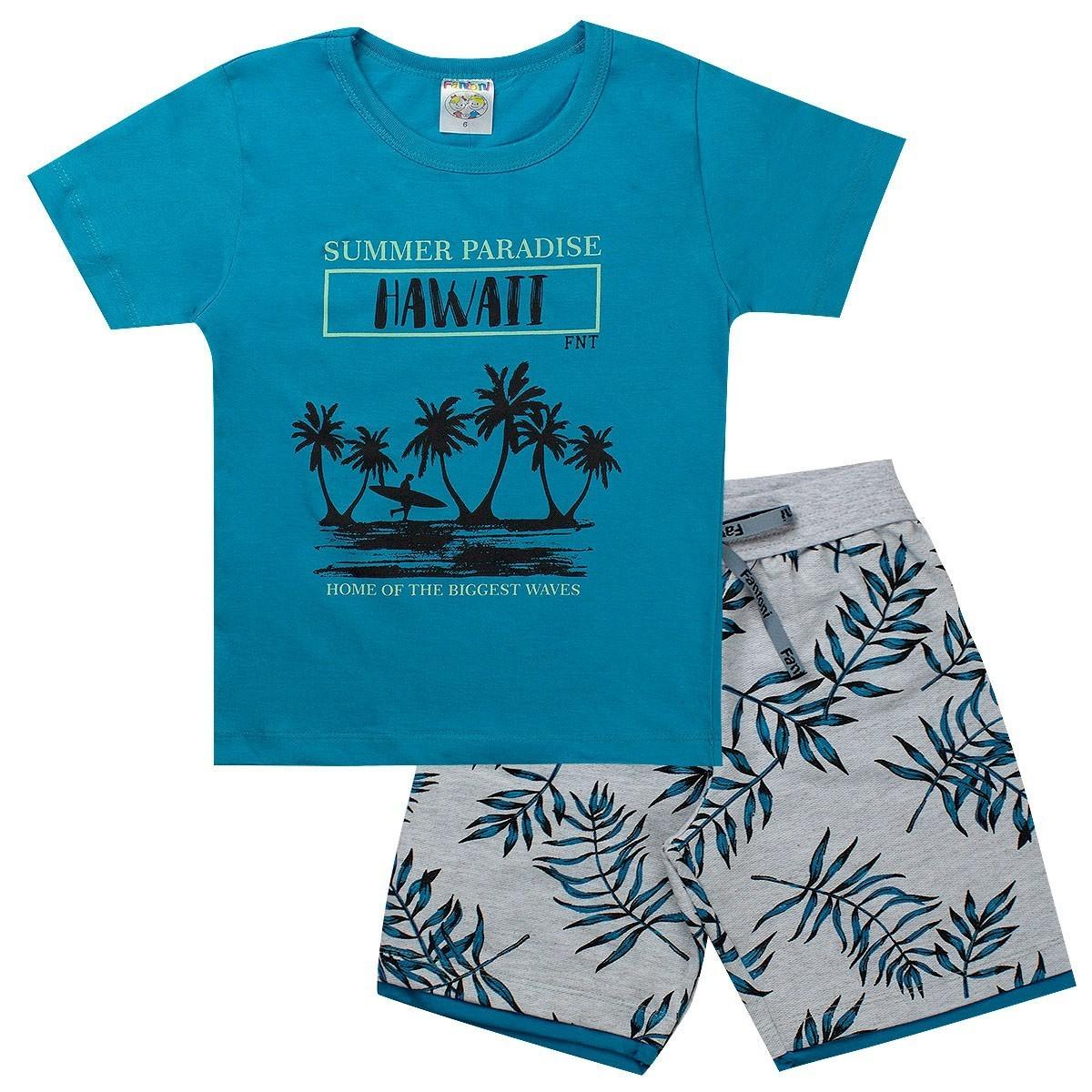 Conjunto Infantil Menino Estampado Summer Azul - Fantoni