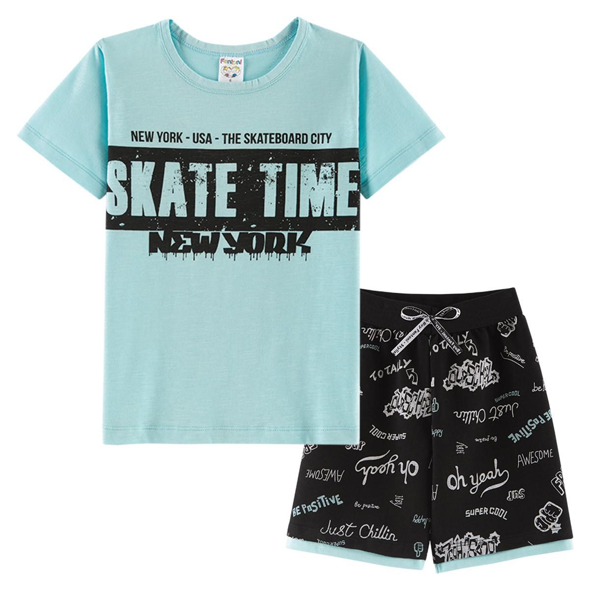 Conjunto Infantil Menino Flame Verão Skate Time Azul