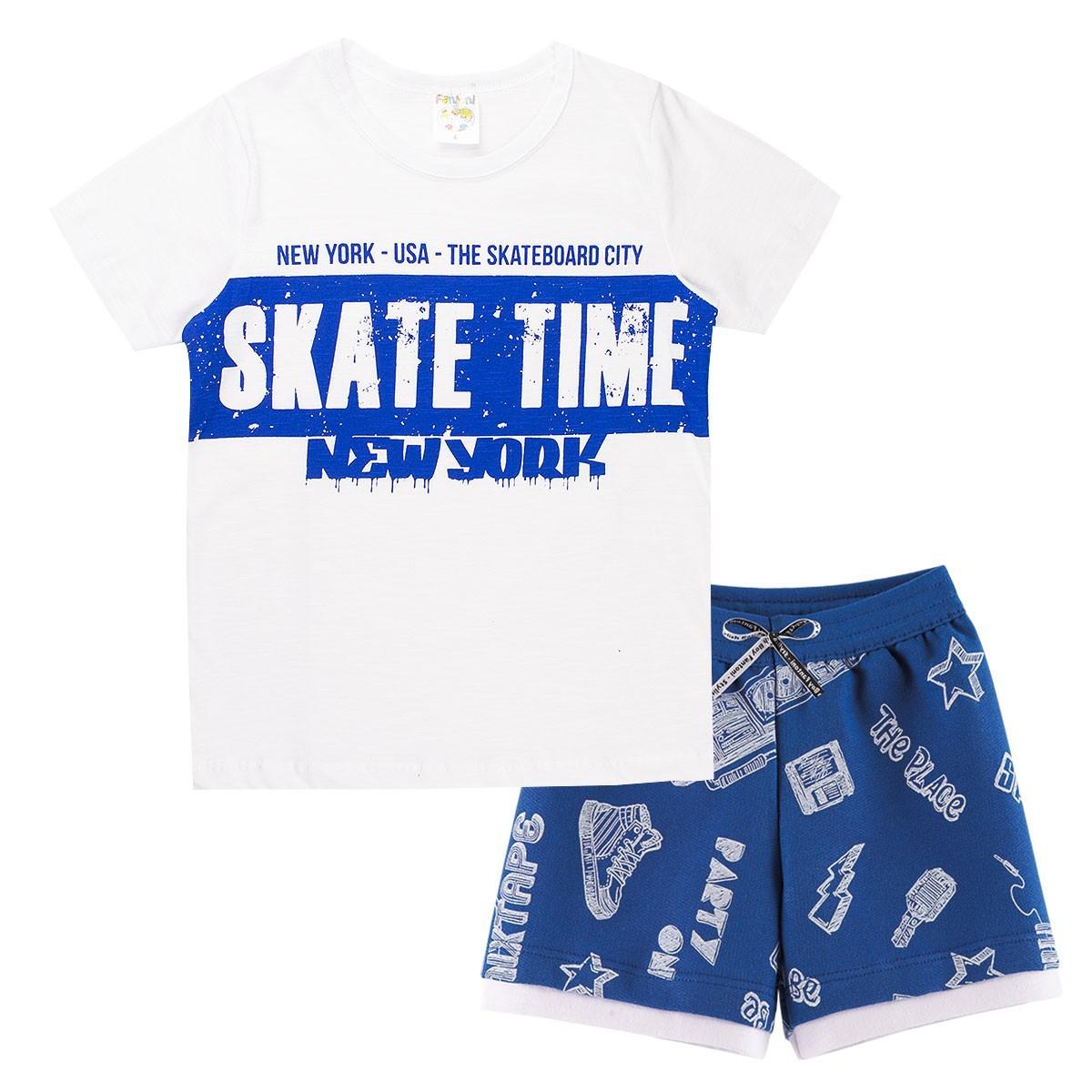 Conjunto Infantil Menino Flame Verão Skate Time Branco