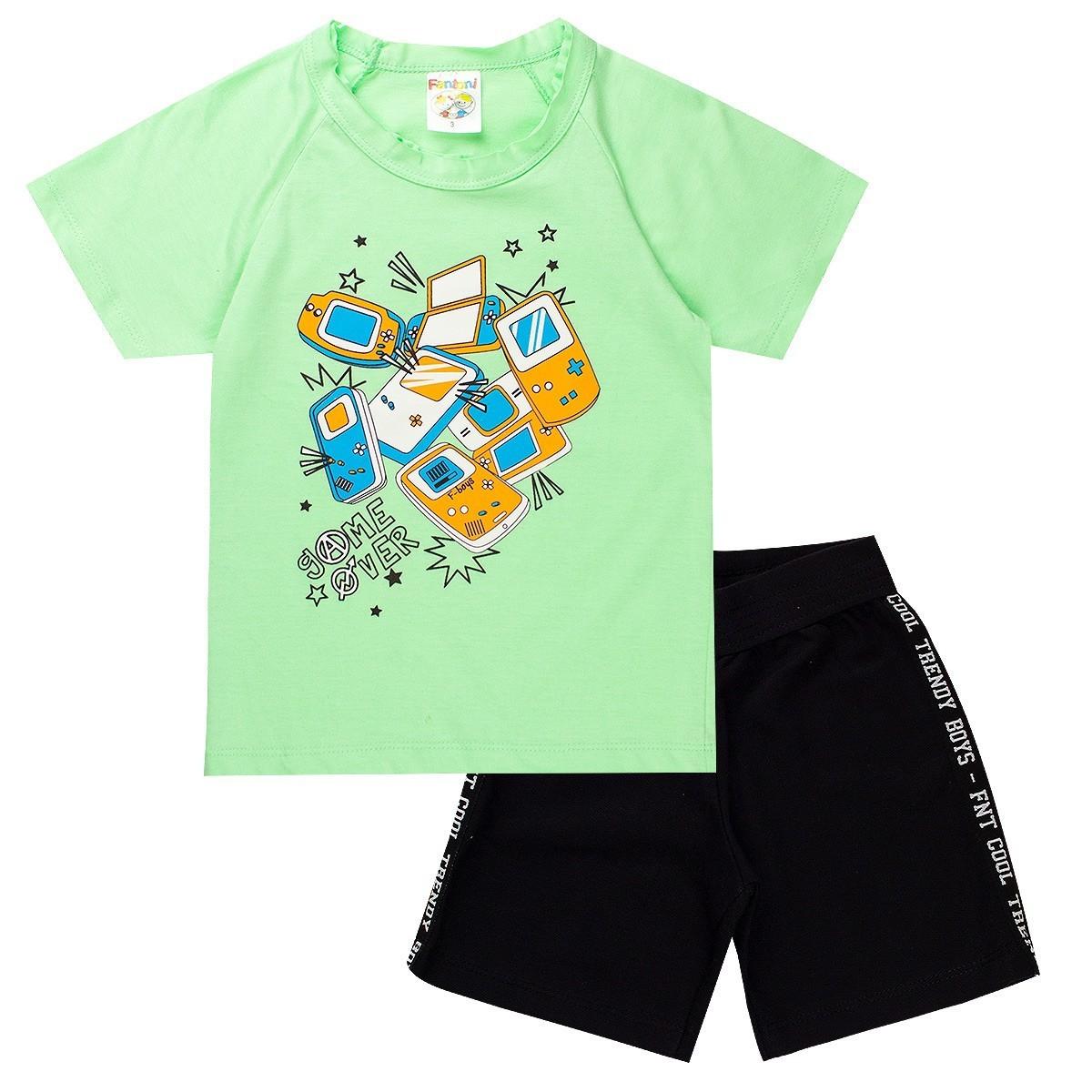 Conjunto Infantil Menino Game Over Raglan Verde - Fantoni