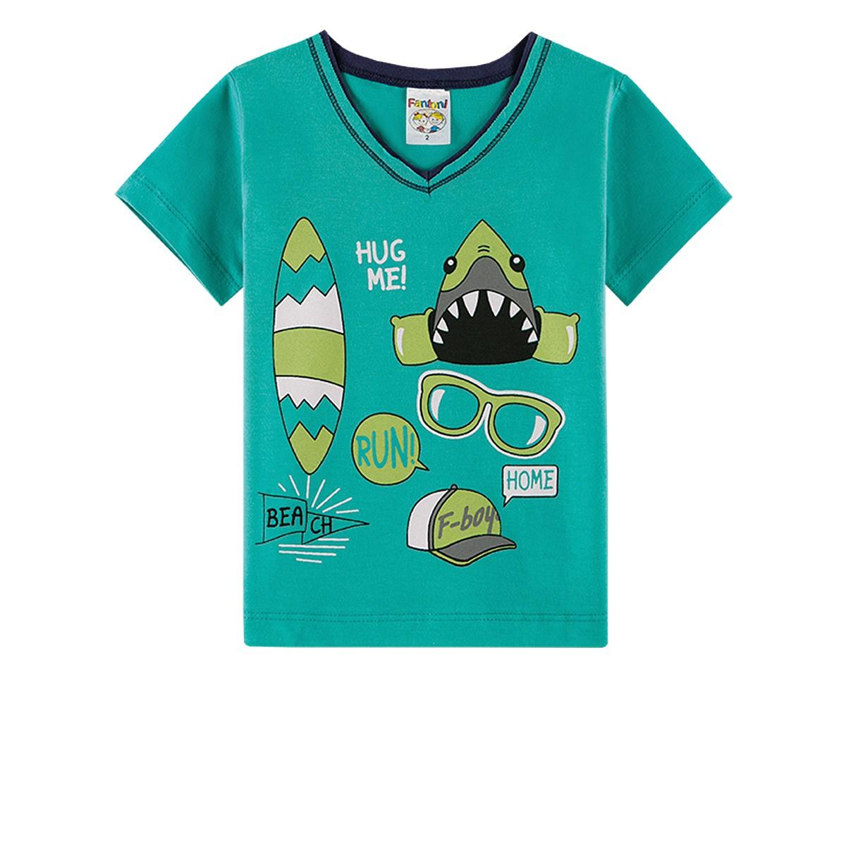 Conjunto Infantil Menino Tubarão Surf Verde