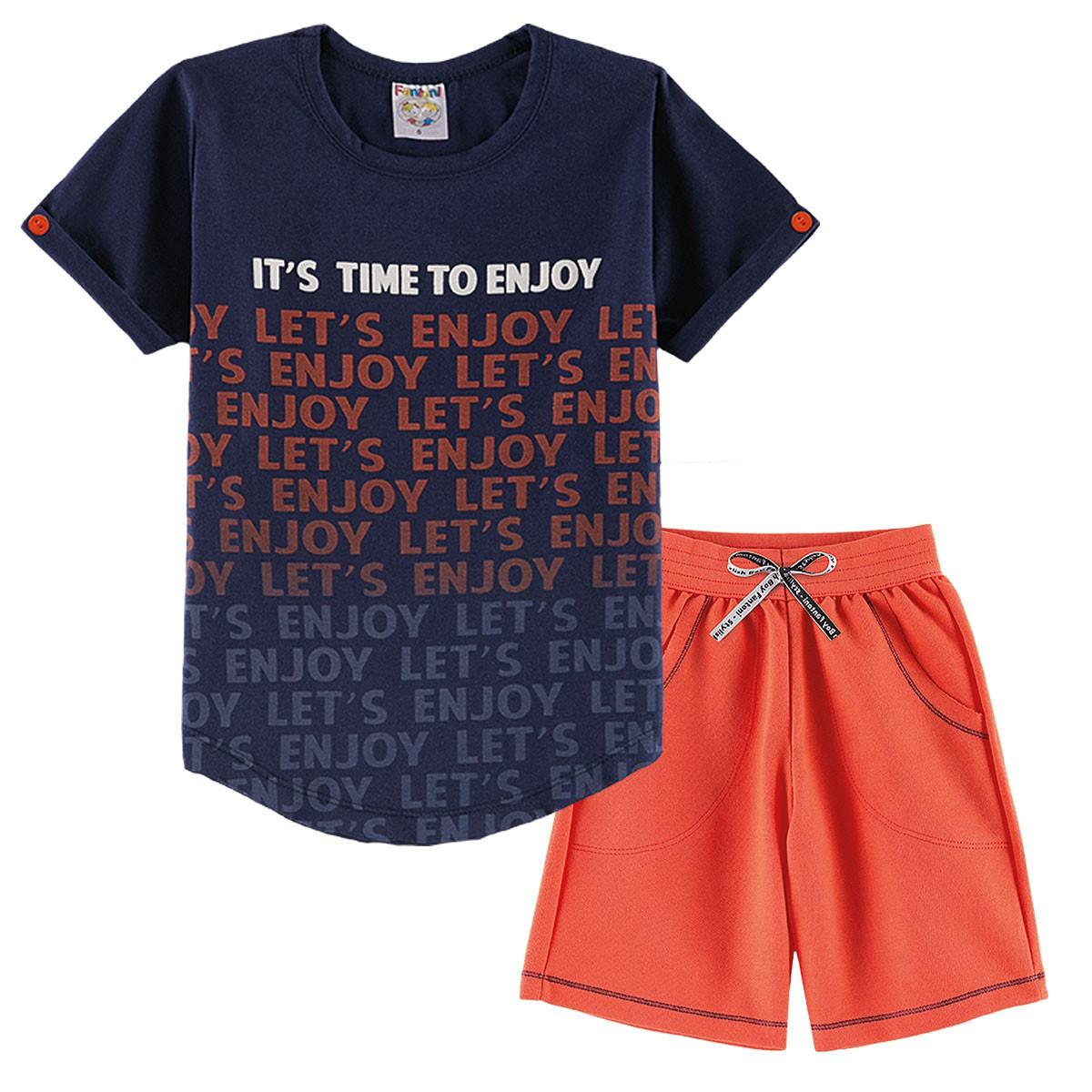 Conjunto Infantil Menino Verão It´s Time To Enjoy Laranja