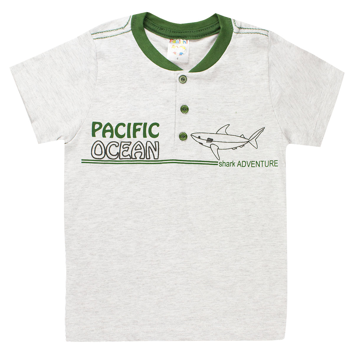 Conjunto Infantil Menino Verão Pacific Ocean Shark Verde
