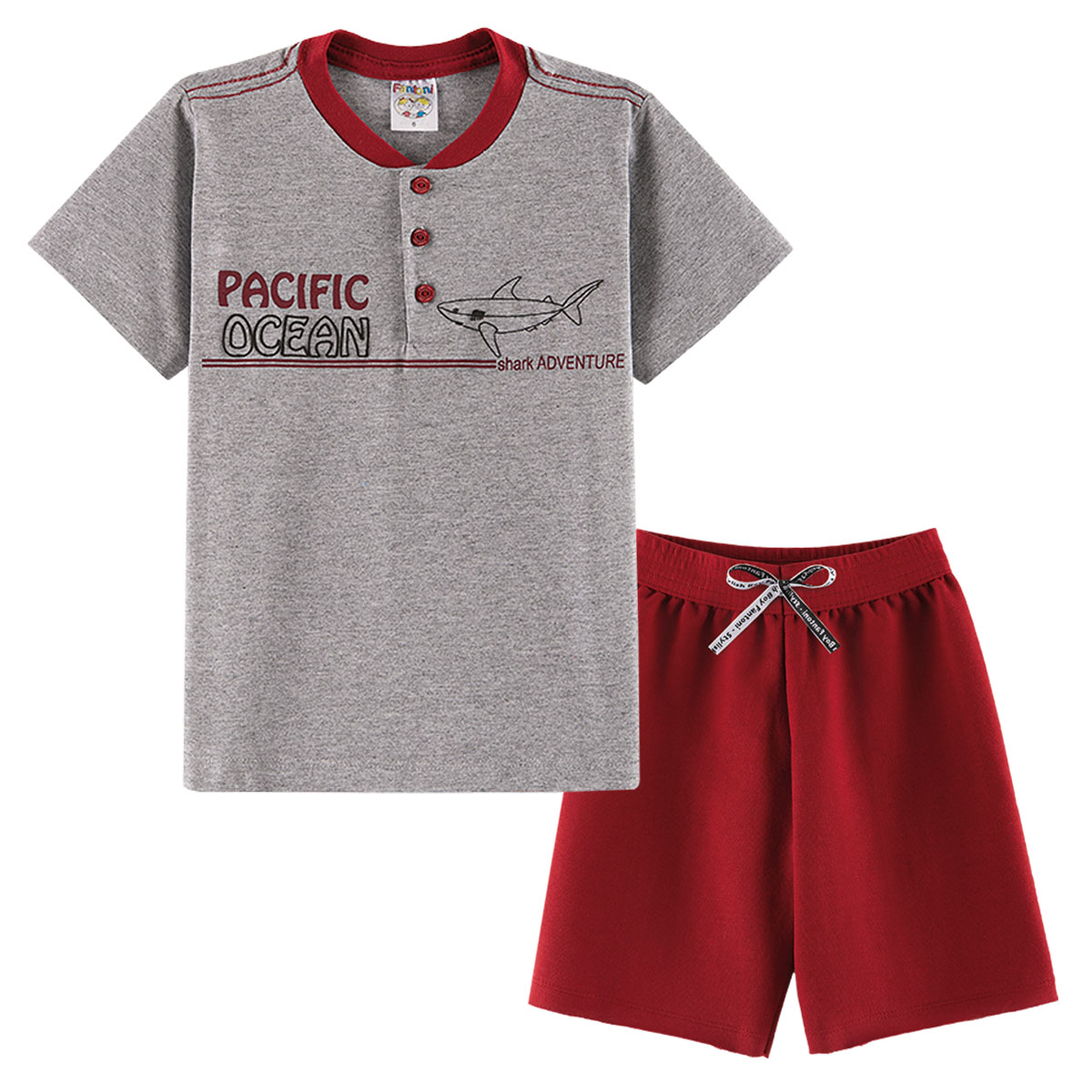 Conjunto Infantil Menino Verão Pacific Ocean Shark Vermelho