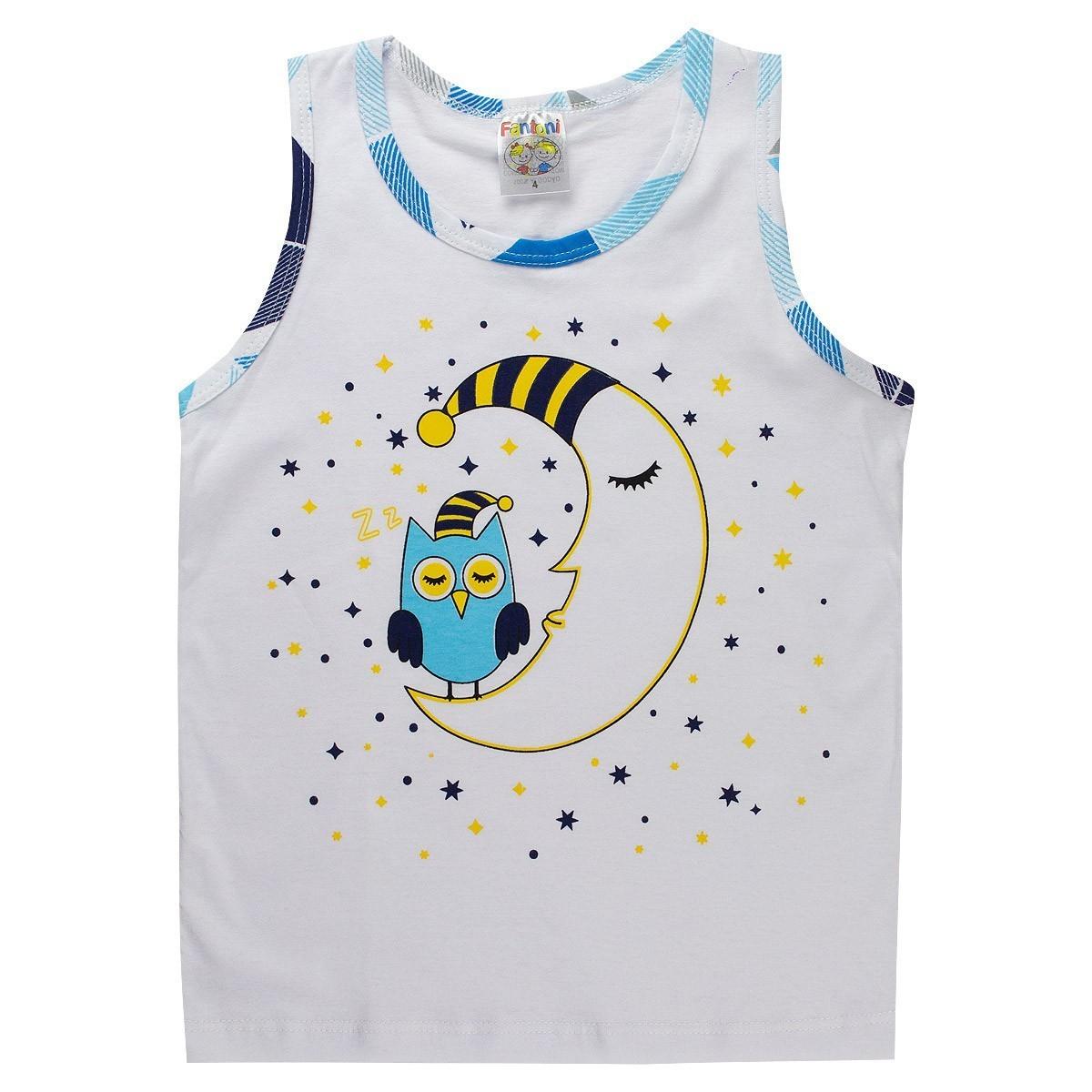 Conjunto Infantil Pijama Regata Menino Branco - Fantoni