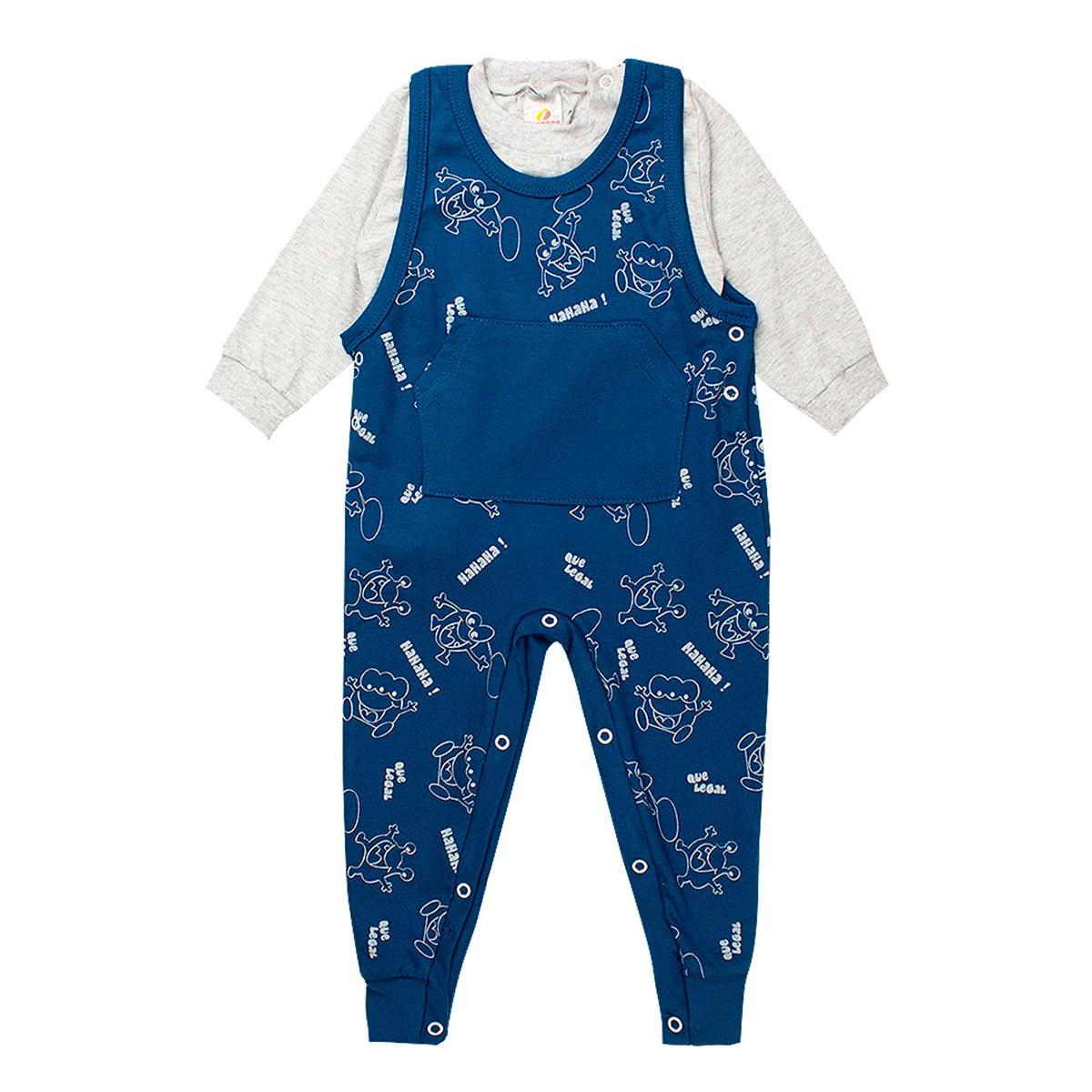 Conjunto Jardineira Bebê Menino Com Botões Azul - Isensee