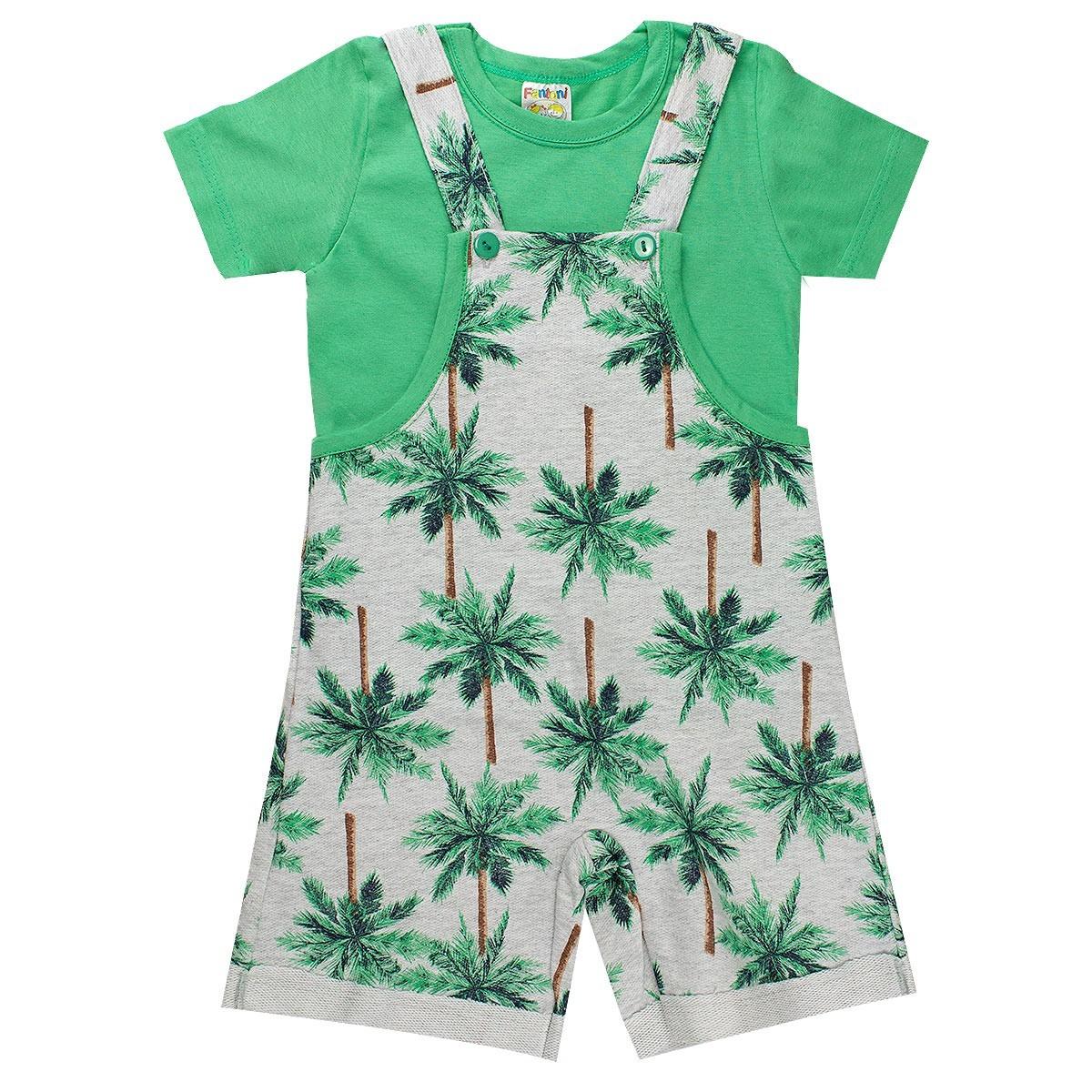 Conjunto Jardineira Infantil Menino Verde - Fantoni