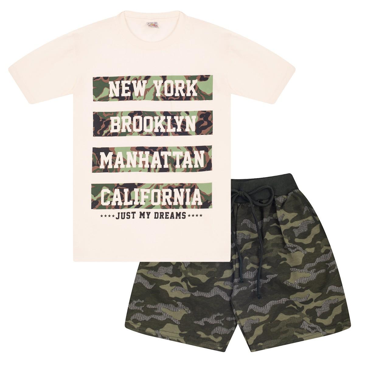 Conjunto Juvenil Menino New York Camuflado Bege Isensee