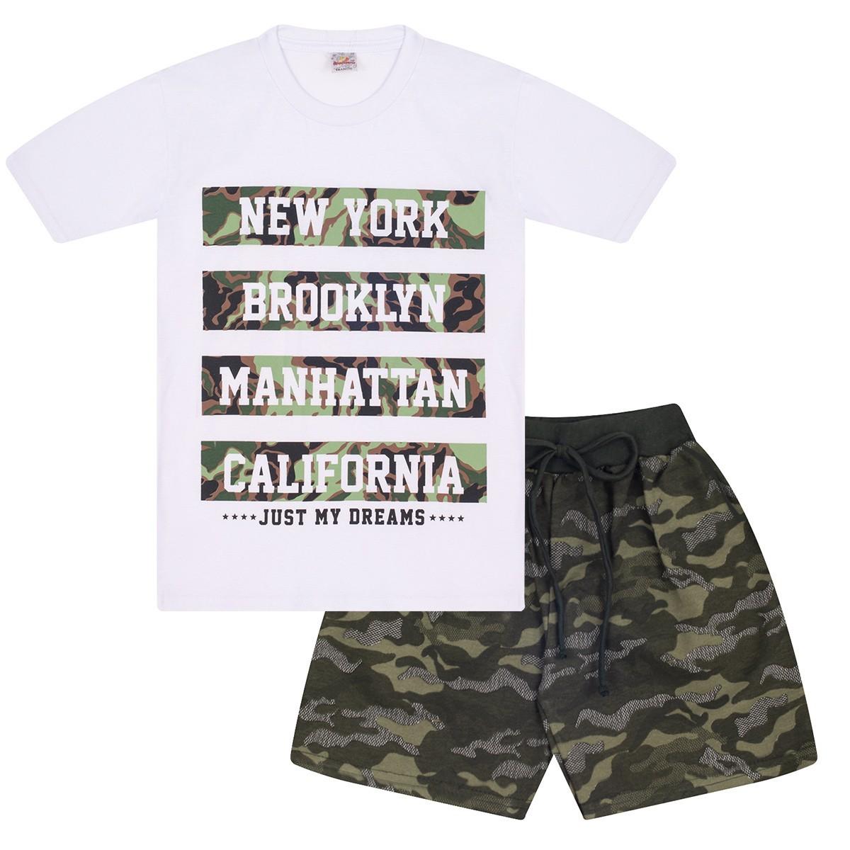 Conjunto Juvenil Menino New York Camuflado Branco Isensee