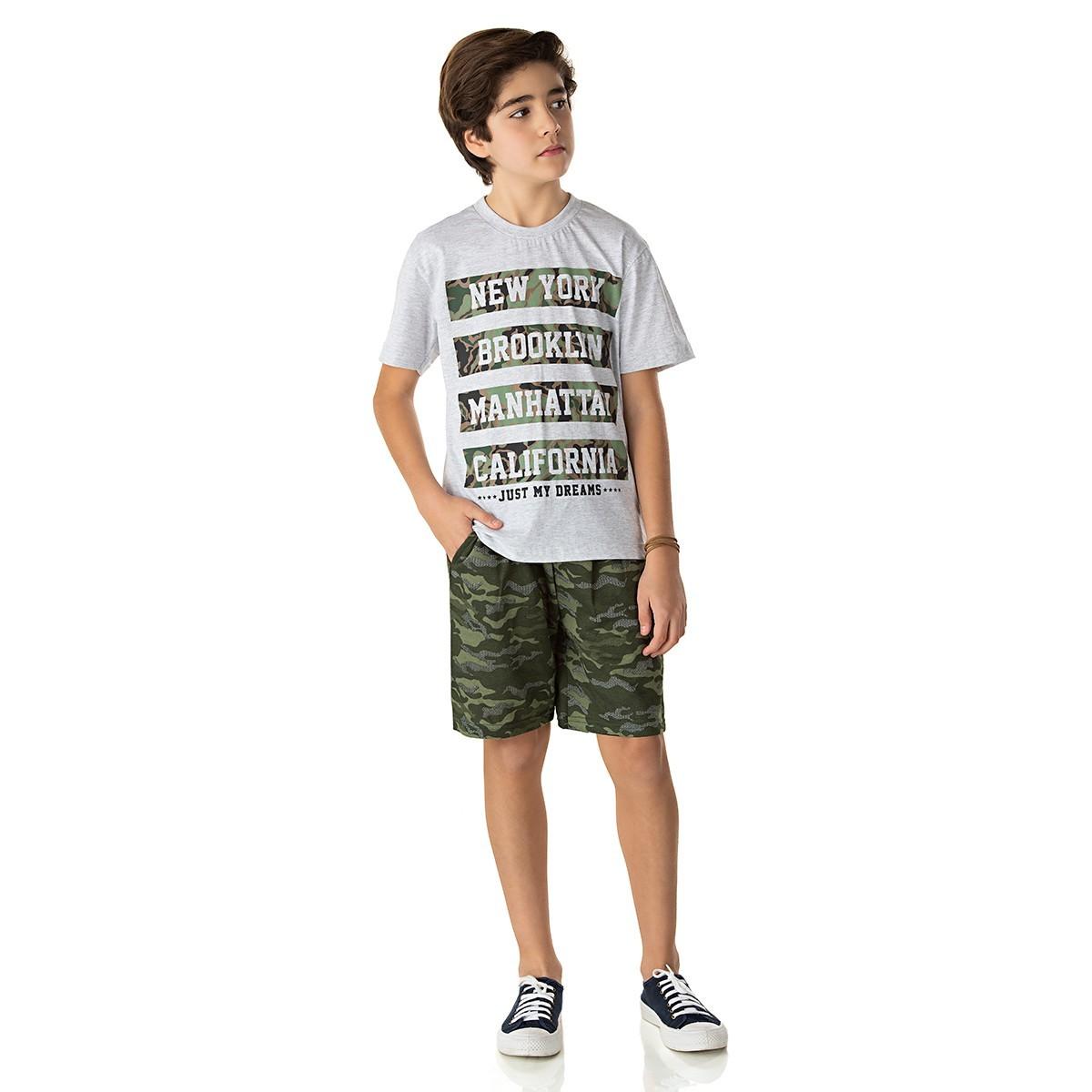 Conjunto Juvenil Menino New York Camuflado Mescla Isensee