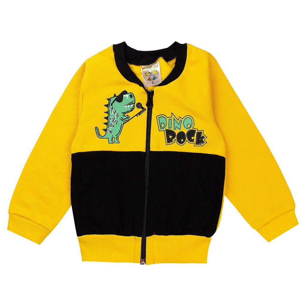 Conjunto Moletom Infantil Bebê Menino Dino Rock Amarelo
