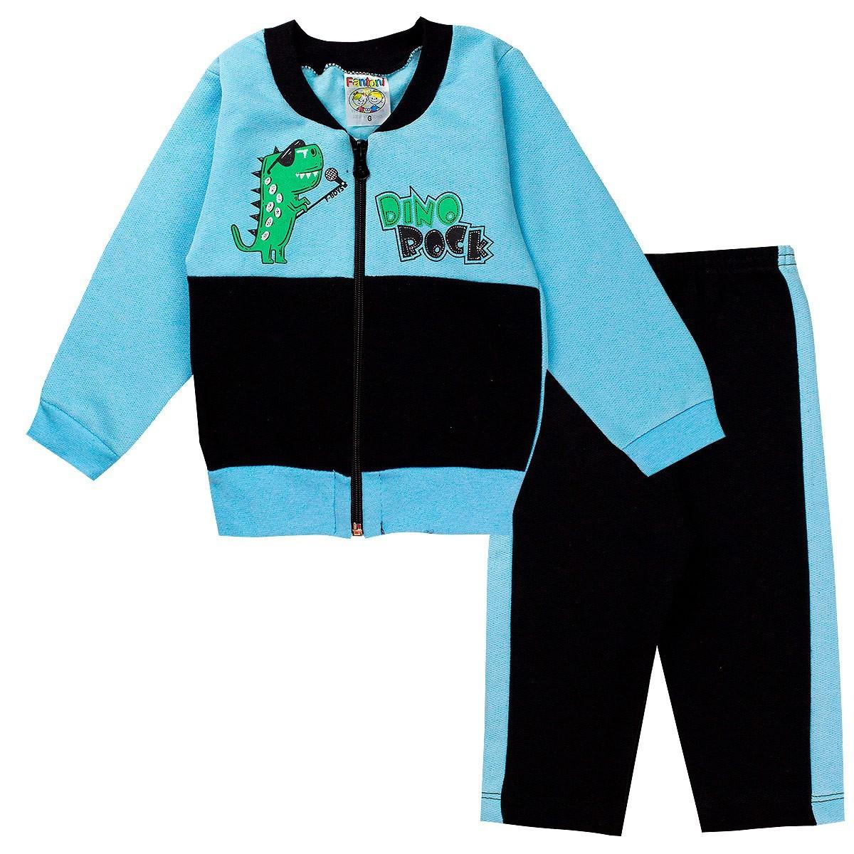 Conjunto Moletom Infantil Bebê Menino Dino Rock Azul