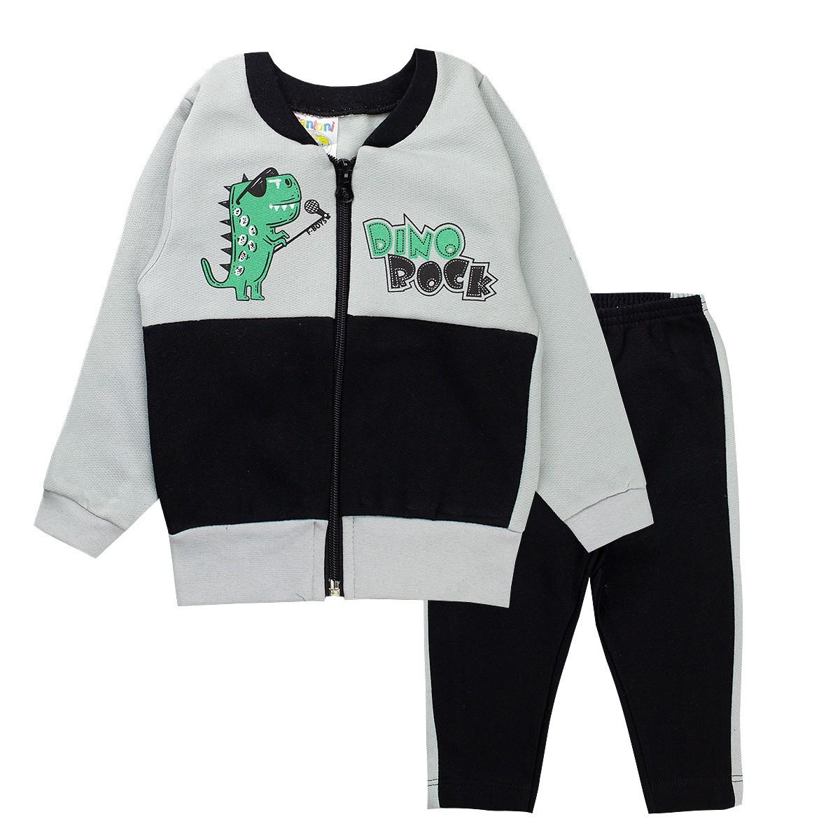 Conjunto Moletom Infantil Bebê Menino Dino Rock Cinza