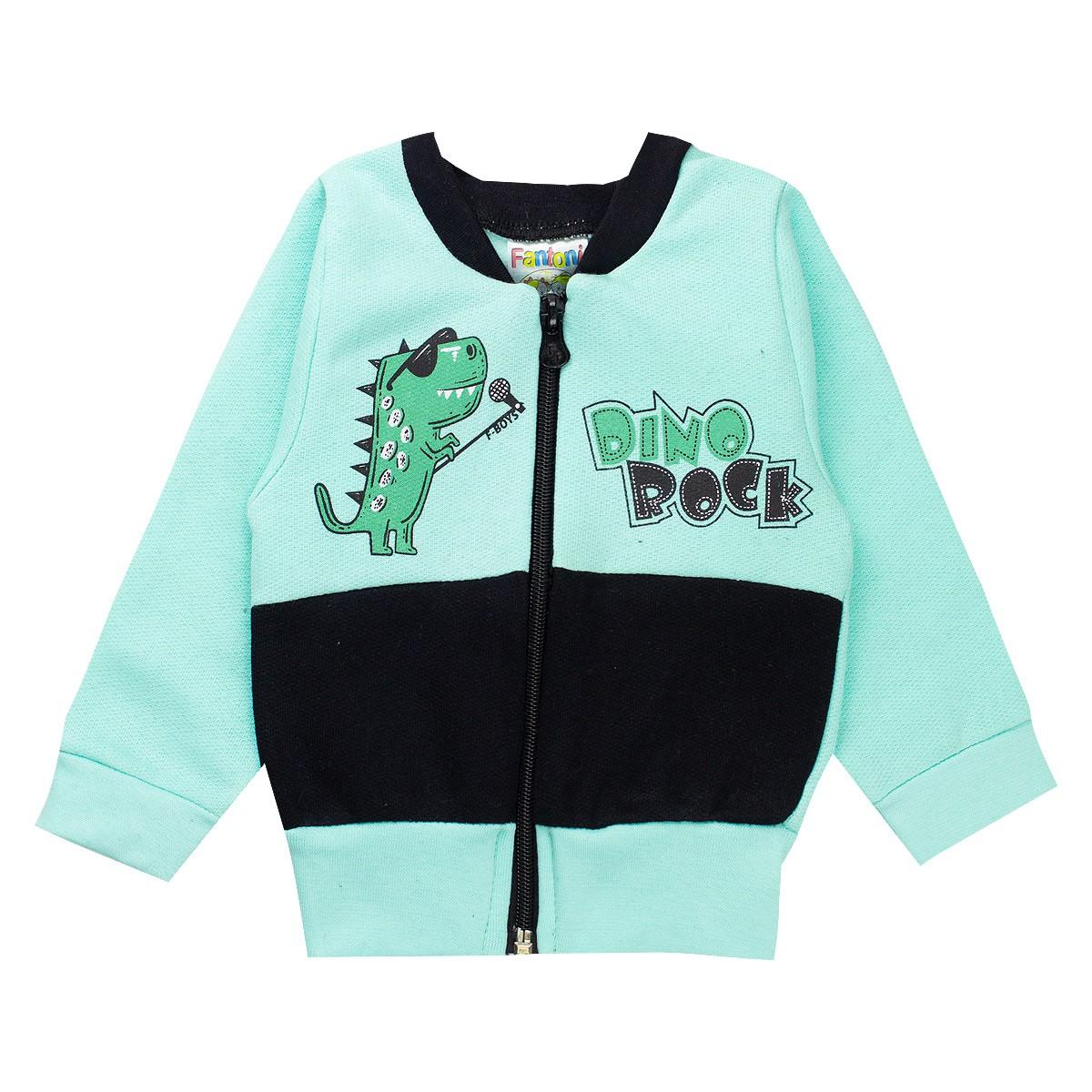 Conjunto Moletom Infantil Bebê Menino Dino Rock Verde
