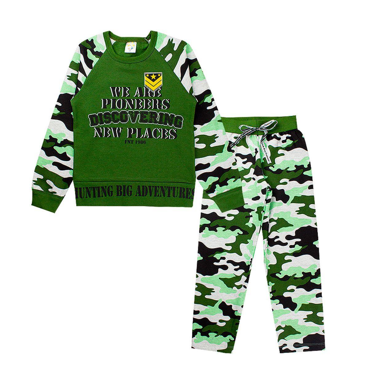 Conjunto Moletom Infantil Masculino Camuflado Verde Fantoni