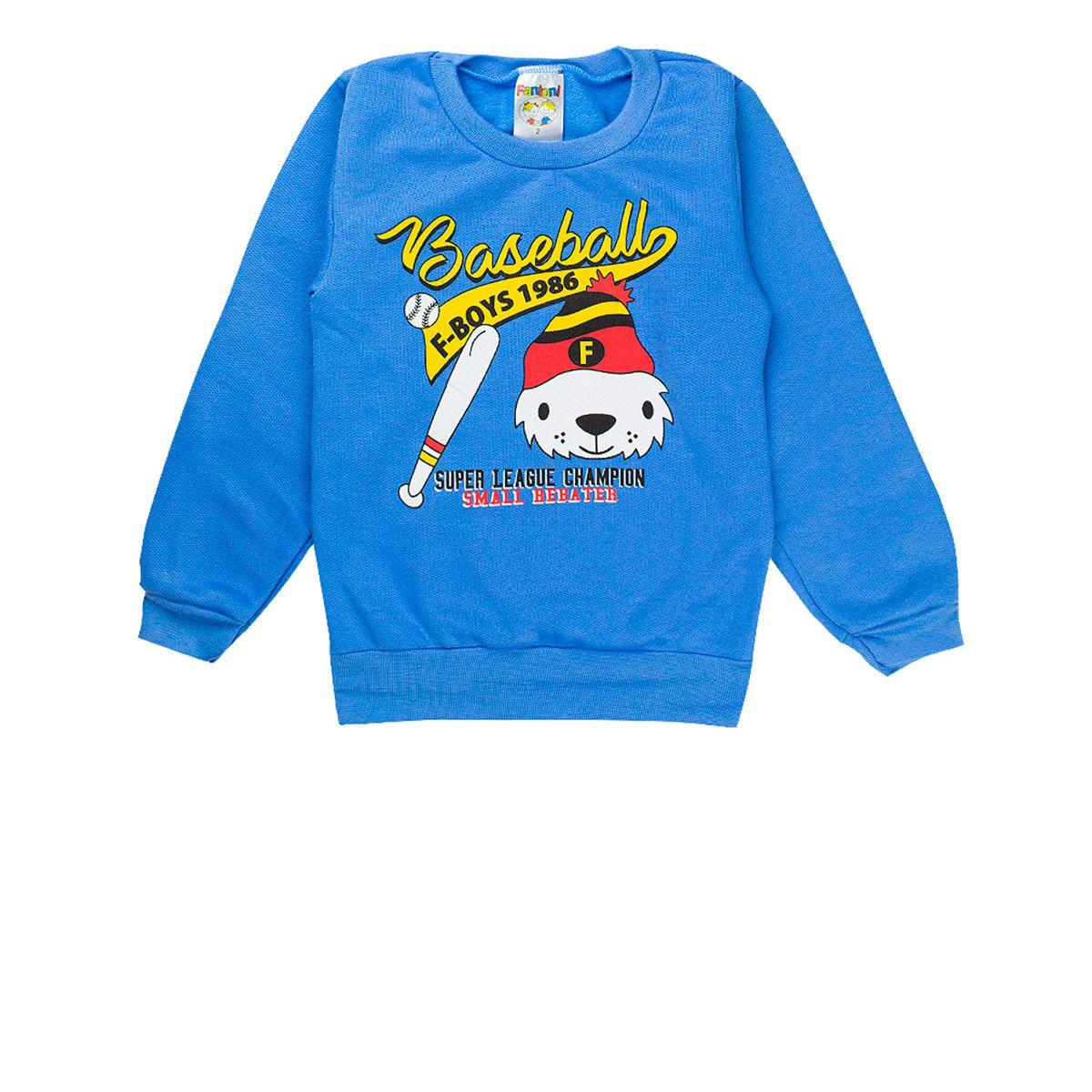 Conjunto Moletom Infantil Masculino Tradicional Azul Fantoni