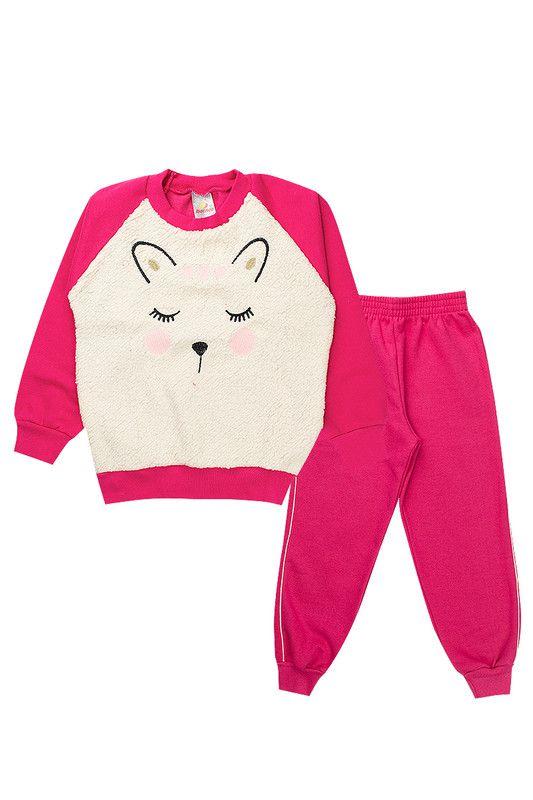 Conjunto Moletom Infantil Menina Pelinho Pink Isensee