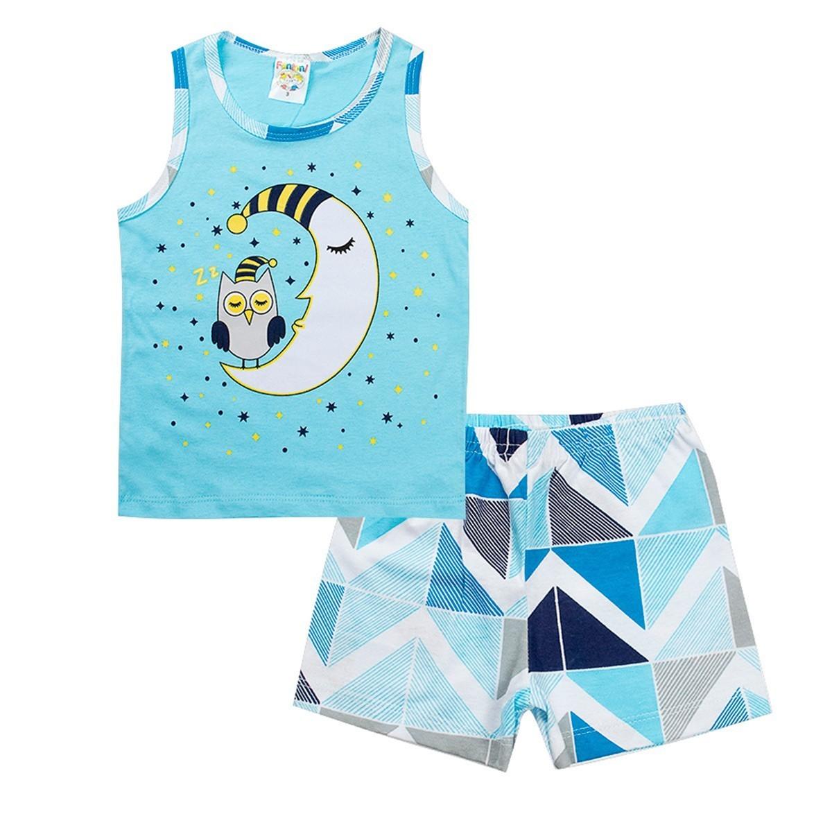 Conjunto Pijama Infantil Menino Brilha No Escuro Regata Azul