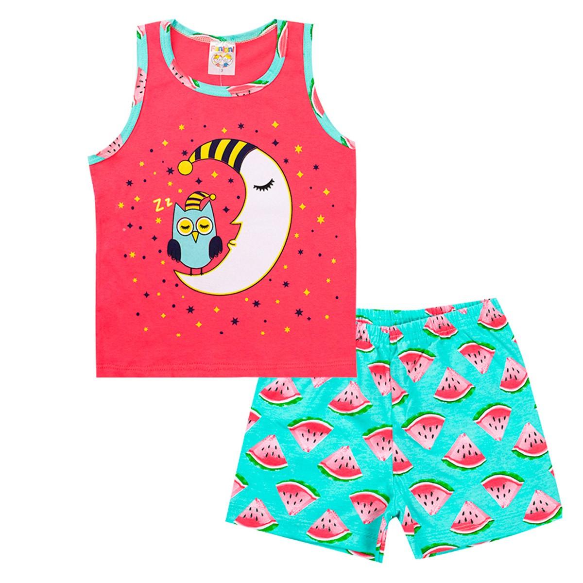 Conjunto Pijama Infantil Menina Brilha No Escuro Regata Salmão
