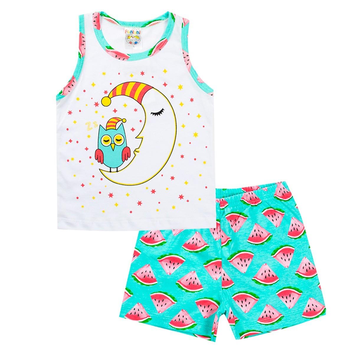 Conjunto Pijama Infantil Menina Brilha No Escuro Regata Verde